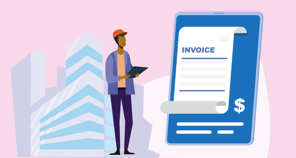 A vendor is verifying payment with invoice