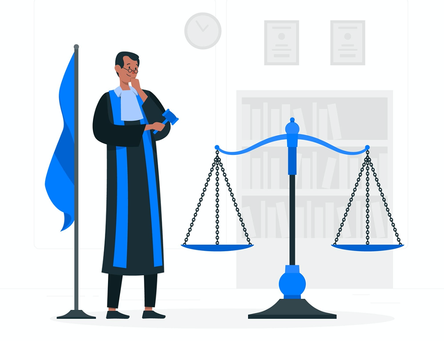 Illustration of a judge smiling at a balanced scale